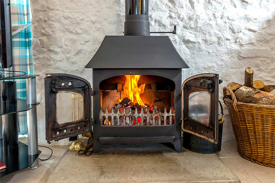 Wood burner in Apple Cottage