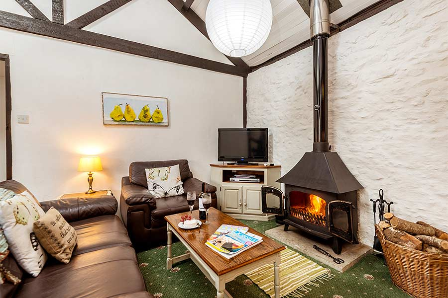Living Area and Wood burner in Cider Barn