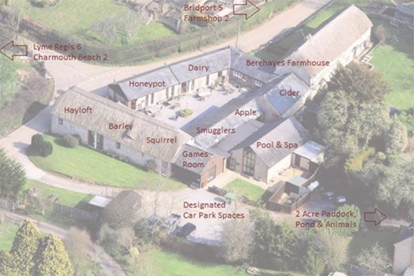Aerial Shot of Berehayes Cottages