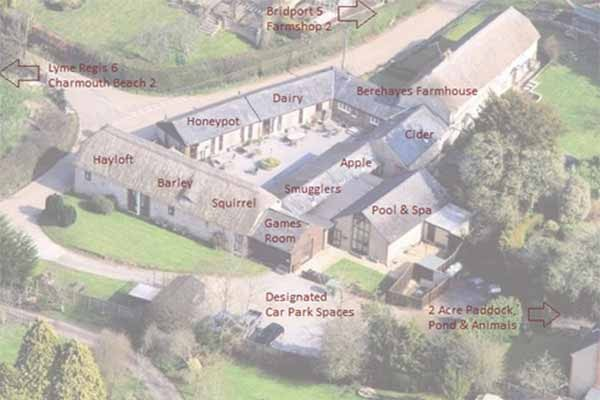 Aerial View of the cottages at Berehayes